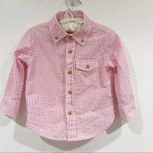 Baby Gap Toddler pink white striped dress shirt